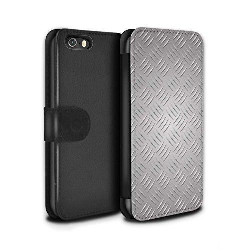 Stuff4 Coque/Etui/Housse Cuir PU Case/Cover pour Apple iPhone SE / Or Design / Motif en Métal en Relief Collection Argent
