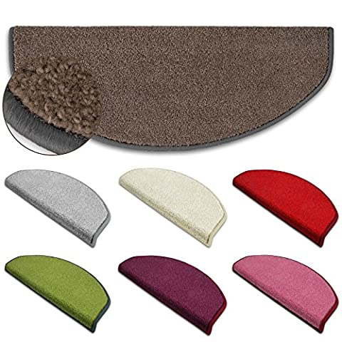 casa pura® 1 of Rectangular Fluffy Carpet Stair Pad / Tread Mats, Brown | Non-Slip | Anti-Static, Incredibly Robust for High Traffic | Short Pile | 23.5x65cm | 7 Colours Available