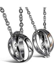 AnaZoz Joyería de Moda Acero Inoxidable Cadenas Collar Colgante Para Mujer Hombre Amantes Corazón Anillos Love 18 y 22 Pulgadas Negro Oro Plata