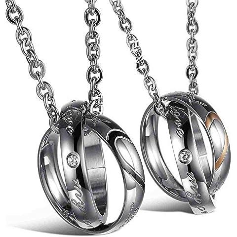 AnaZoz Joyería de Moda Collar de Hombre Acero Inoxidable Cadenas Collar Colgante Para Mujer Hombre Amantes Corazón Anillos Love Negro Oro Plata