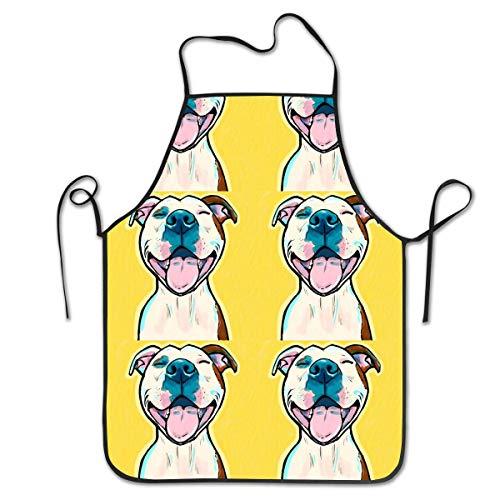 vbcnfgdntdy Pitbull Art Personalized Apron for Kitchen Baker Baking Restaurant Cooking Chef Crafting Apron Sleeveless (Für Pitbulls Blau-gurt)