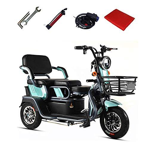 Aegilmc Elektromobil Elektroroller 3-Rad, Elektro Dreirad Für Senioren Seniorenmobil Senioren-Scooter E-Scooter E-Roller 500W 25 Km/H Koffer Reichweite Bis Zu 55KM,Blau