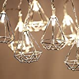 Lewondr Chaîne Lumières LED Lumières 3m 20 LED USB et Alimenté par batterie,Lumières Twinkle pour chambre à coucher,mariage, Noël,décoration de la maison, Argent