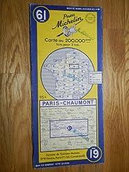 carte routière michelin n°61 - PARIS - CHAUMONT