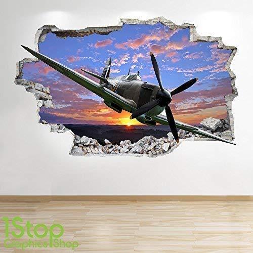 Wand-hurricane (1Stop Graphics Shop Spitfire Hurricane Wandaufkleber 3D Optik - Jungen Kinder Schlafzimmer Himmel Wand Abziehbilder Z533 - Medium: 60 cm x 90 cm)