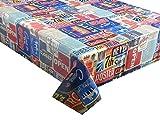 2m (200x 137cm) Nappe en vinyle rétro USA Affiches Design en vinyle/PVC facile à nettoyer Taille 6places (115)