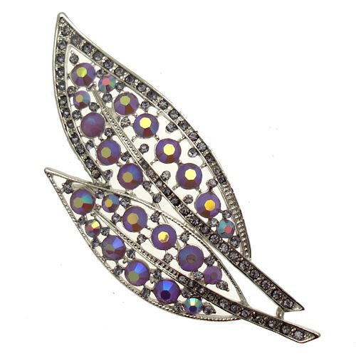 Acosta Brooches - Lilac AB & Tanzanite Crystal - Silver Tone Oversized Leaf Brooch