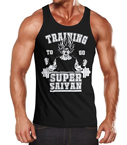 MoonWorks Herren Tanktop, Son Goku Super Saiyajin Saiyan, Training Gym Fitness Muskelshirt schwarz XL (Ball Shirt Dragon)