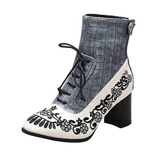 Geschenk fur Frauen Weihanchten Damen Stiefeletten Stiefel Erwachsene Bootsschuhe Day.LIN Gestickte Booties große Stickerei Blumen handgemachte Damenstiefel -