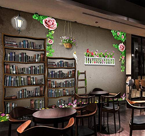 WANGZZZ Benutzerdefinierte Mural 3D Bücherregal Moderne Muster Tapete Bibliothek Buchhandlung Restaurant Bar Freizeit Lounge Tapete, 350 cm (B) X 256 cm (H) - Kronleuchter Bibliothek