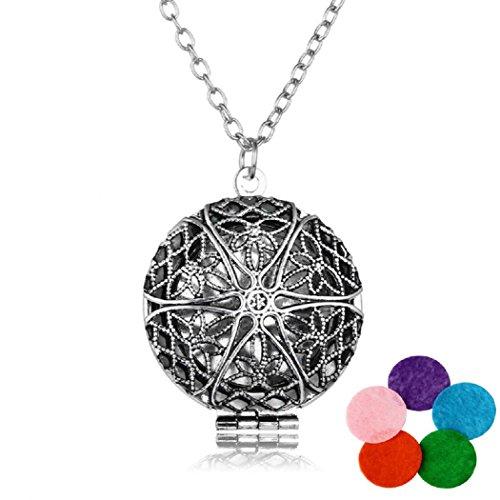 Aromatherapie Halskette Damen Essential Oil Diffuser Necklace+5 Bunt Pads (Antikes Silber)