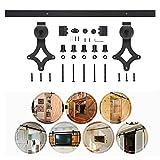 6FT Schiebetürbeschlag Set Laufschienen für Schiebetür Schiebetürsystem Zubehörteil mit plattierten Elektrotauchlacken Schienensplei (183.0cm)