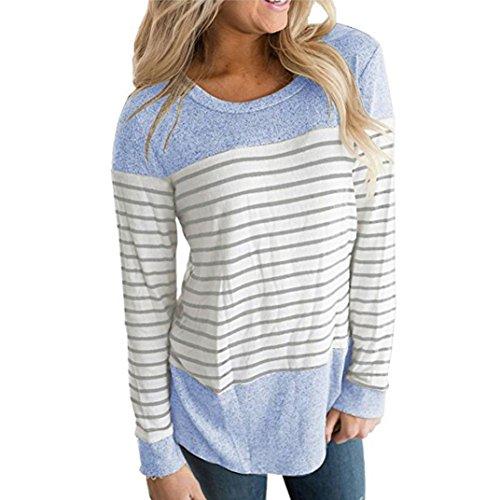 Imagen de shobdw separación mujeres rayadas patchwork elástico casual manga larga blusa tops camisa azul n, s