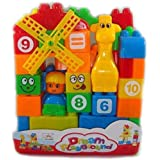 X Zini Learning Blocks For Kids With Cartoon Figures, Bag Packing, Best Gift Toy, Multicolor (Set Of 35 Pcs)