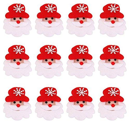 Toyvian Weihnachten Brosche Pins LED Licht Blinky Weihnachtsmann Abzeichen Weihnachten Schmuck Party Favor 12 Stück (Rot und Weiß)