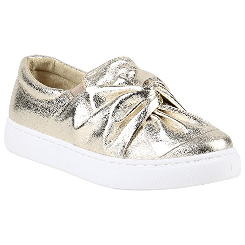 Damen Sneakers Slipper Slipons Metallic Kroko Gold Silber New Look Gold  Schleife