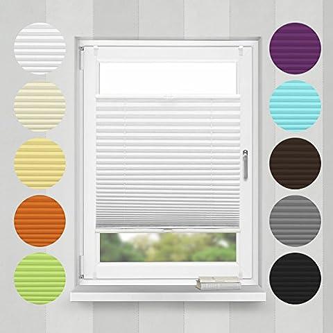 Plisse-rollo Easyfix Montage ohne Bohren (Weiß, B55cm x H200cm) Plissee Jalousie mit Klemmfix | Sonnenschutzrollo Seitenzugrollo Faltrollo Klemmträgern für Fenster / Tür | verspannt Faltstore