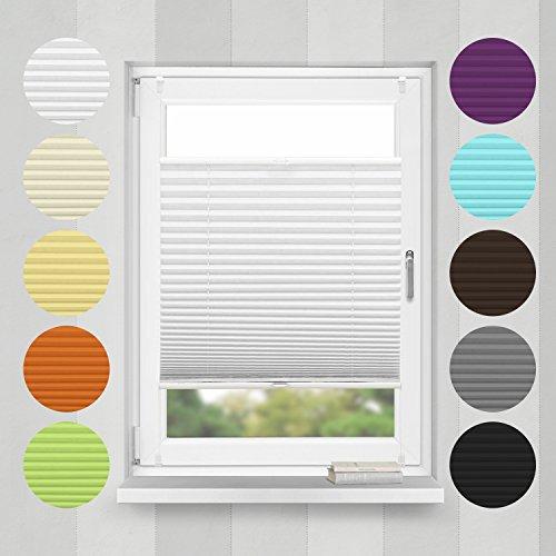 Home-Vision Plissee Faltrollo ohne Bohren mit Klemmträger / -fix (Weiß, B55cm x H200cm) Blickdicht Sonnenschutz Jalousie für Fenster & Tür