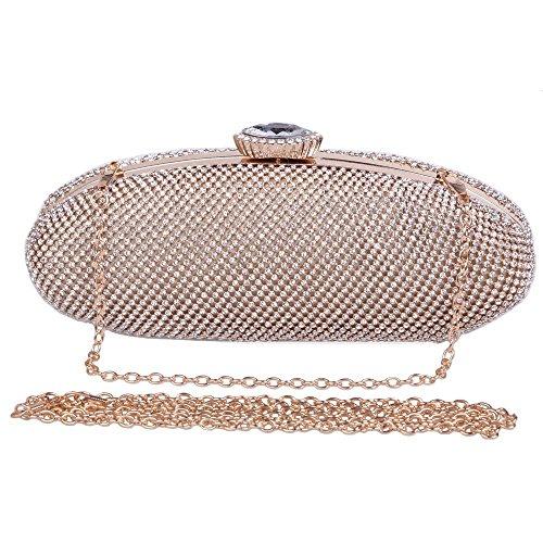 Damen Clutch Abendtasche Handtasche Geldbörse Luxus Funkelt Glitzer Oval Lang Tasche mit wechselbare Trageketten von Santimon(3 Kolorit) Gold