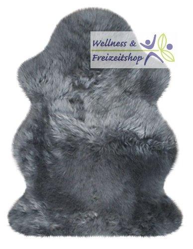 Heitmann edles Australisches Lammfell, Teppich Haarlänge ca. 70mm, waschbar, zur Dekoration, medizinischer Zweck - Grau, Anthrazit - Kuscheligen Hausschuhe