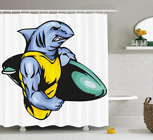 XIAOYI Shark Shower Curtain, Grumpy Surfer Shark with Muscled Body Exotic Sports Mascot Cartoon, Fabric Bathroom Decor Set with Hooks,60 * 72inch Extra Wide, Pale Blue Yellow Jade Green - Delta-shower Body