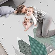 Reversible Baby Folding Crawling Mat,Tencel-Fabric Large Tummy Time Folding Baby Crawling Mat Outdoor or Indoo