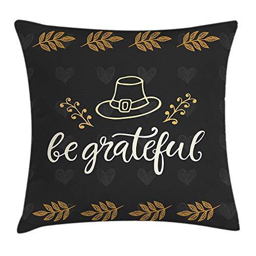 Hectwya Seien Sie dankbar Wurfkissenbezug Sketch Style Pioneer Hut mit Laub und Autumn QuotePale Charcoal