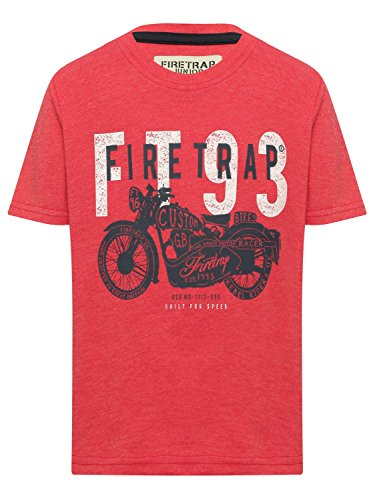 Firetrap Boys 100% Cotton Red Short Sleeve Crew Neck Motorbike Print Logo T-Shirt