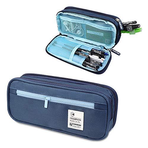 C100AE Estuche Escolar de Gran Capacidad, Bolsa de Lápiz Portable Estuche Organizador,Estuche Lapices de Colores, para Estudiantes en Escuela y Empleados en Oficina (Azul)