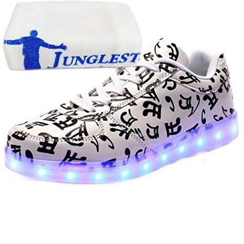 7 Sneaker Unisex kleines Aufladen Leuchtend Farbe Schuhe Turnschuhe Für present junglest Sportschuhe Led Usb erwa Handtuch Sport Weiß gWRt4Awq