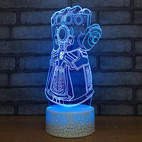 SJSF L Thanos-Unendlichkeits-Handschuh-Rächer-Unendlichkeits-Kriegs-Handschuhe 3D Nachtlichter LED, die Licht-kreatives Schreibtischlampe Tropfen-Schiff der Neuheit-3D ändert,7color+remotecontro