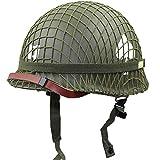 WM&LJP WW2 US Soldat M1 Helmnetz Abdeckung Heavy Duty Green Reproduktion Taktische Helm Gurtband Abdeckung/Canvas Kinnriemen