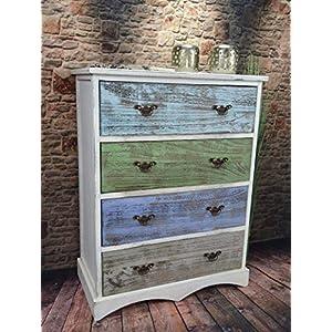Livitat® Kommode Schrank Mit Schubladen Landhaus Shabby Chic Vintage Weiß  LV1009