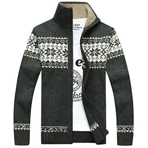 Lässige Männer Striped Christmas Sweater Windbreaker Warm Fashion Cardigan Sweaters Green XL