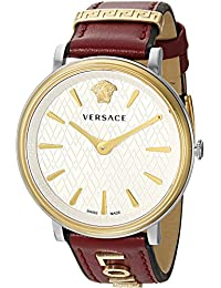 Versace Women's 'MANIFESTO EDITION' Swiss Quartz Gold-Tone and Leather Casual Watch, Color:Red (Model: VBP020017)