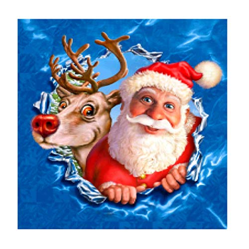 MXJSUA 5D DIY Diamant Malerei Kit nach Anzahl Vollbohrer Runde Perlen Kristall Strass Stickerei Kreuzstich Bild liefert Kunst Handwerk Wandaufkleber Dekor 12 x 12 In Santa Claus und Deer