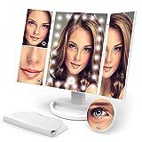 Kosmetikspiegel Olivivi LED Spiegel Faltbarer Makeup Spiegel mit Einstellbare 24 LEDs 3 Seiten Schminkspiegel über 10x/3x/2x/1x Vergrößerungen 360° schwenkbar für Reise Haus und Beauty