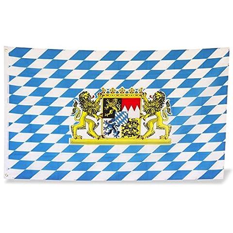 4 x HC-Handel 910267 Bayernfahne Flagge 90 x 150 cm Stoff blau/weiß