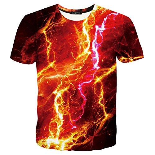 LAIDIPAS Unisex 3D Muster Gedruckte Beiläufige Kurze Hülsen-T-Shirts T-Stücke rotes Feuer