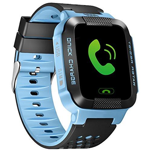 Gps-child-tracker-armband (ALLCACA Kids Smart Watch Multifunktions-GPS-Tracker Anti-verlorene SOS Smart Armband, Geeignet für iPhone und Android Smartphone, Schwarz und Pink (blau))