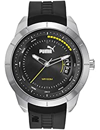 PUMA Modern Motorsport Men's Quartz Watch with Grey Dial Analogue Display and Black Plastic Strap PU104191002