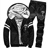 UJUNAOR Männer Hoodie Trainingsanzug Verdicken Baseball-Uniform Mit Kapuze Lässig Anzug Winter Freizeitanzug Top Hosen Sets(Schwarz,EU M/CN L)