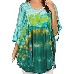 Sakkas Lepha larga y ancha Colorido del tinte del lazo de lentejuelas bordado poncho blusa de la tapa