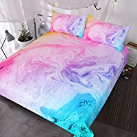 BlessLiving Colorful Marble Bedding Pastel Pink Blue Purple Duvet Cover Set Marble Abstract Art Bed Set 3 Piece Bright Girly Bedspreads(Double)