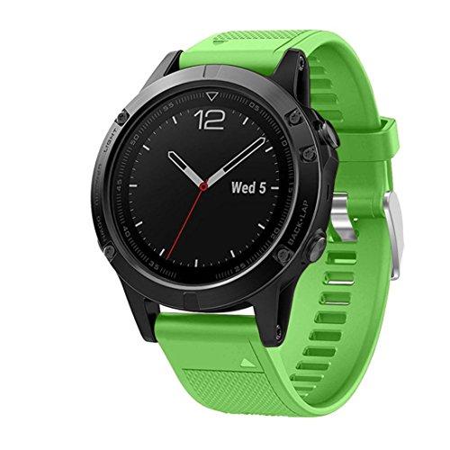 squarex Ersatz kieselgels Quick Install Weich Band Gurt für Garmin Fenix 5GPS-Uhr, damen, grün, AS Show
