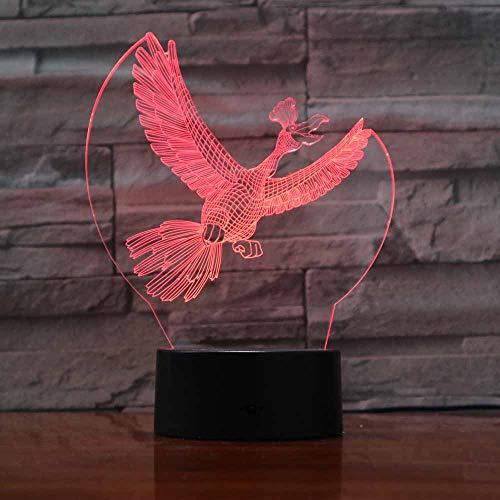 7 Farbwechsel Tier Simulation Led 3D Vogel Krähe Fliegen Tischlampe Dekoration Beleuchtung Luminaria Kinder Urlaub Geschenk Nachtlicht (Vogel-film Für Kinder)