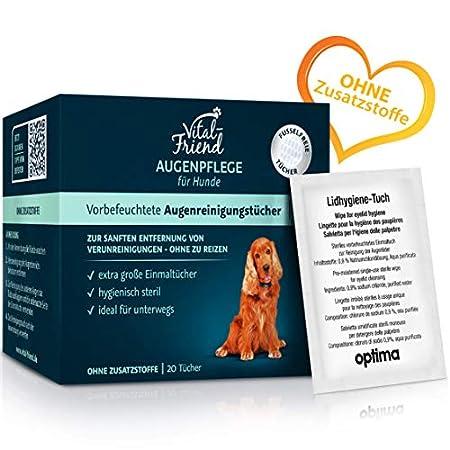 Vital-Friend Augenpflege-Tücher Hund, konservierungsmittelfreie, steril verpackte Tücher für die sanfte Reinigung von Hundeaugen,ideal für unterwegs, 20 Stück