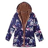 Mymyguoe Damen Wintermantel Warm Winterparkas Outwear mit Blumendruck und Kapuze Taschen Vintage Große Größe Kurz Mantel Coat mit Fleece-Futter Baumwolle Mantel Winterjacke Fleecejacke