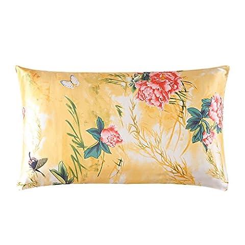 HYSENM Kissenhülle Seide Blume Elegant Atmungsaktiv Hautpflege Haarpflege Weich Farbecht Umschlag Rechteckig Kissenbezug Silk Pillowcase Kopfkissenbezug, Blume 3 50x70cm