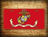 Fhdang Decor USMC Plaque d'immatriculation Auto en Aluminium 6 x 12 Marines Corps Flag Semper Fidelis